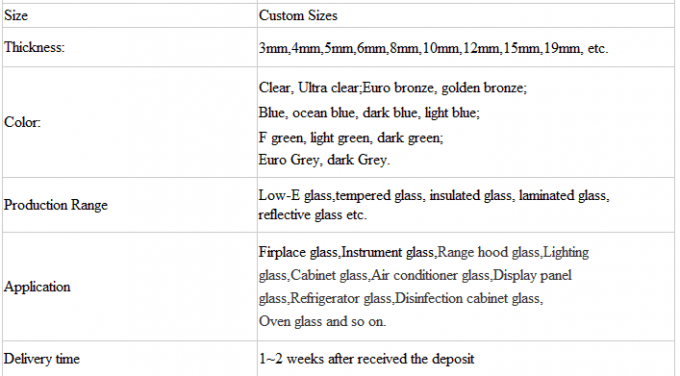 Custom Design Clear Tempered Safety Glass 250 Degrees Thermal Shock